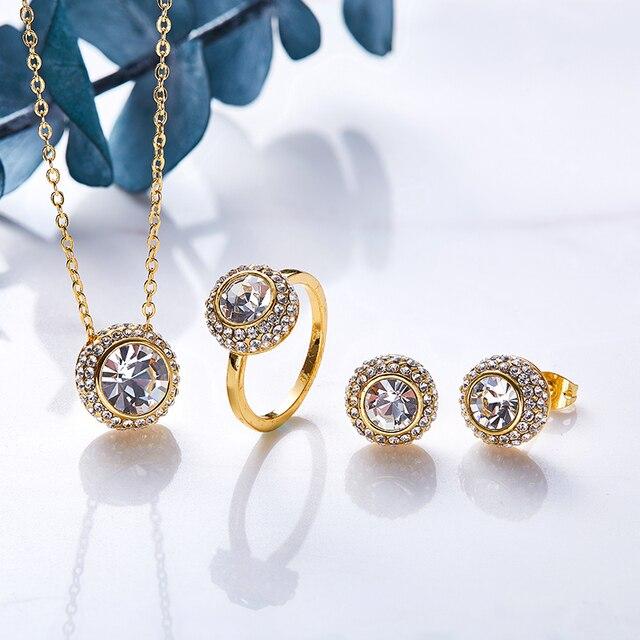 Cdyle נשים זהב תכשיטי סט קשט עם קריסטלים סברובסקי שרשרת עגילי טבעת סט יוקרה מתנת יום הולדת