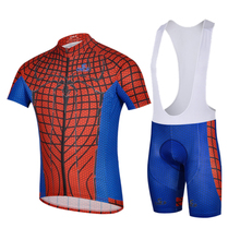 2016 New Bike Short Sleeve Jersey Set Cycling Spider-Men Jersey+Pants Short