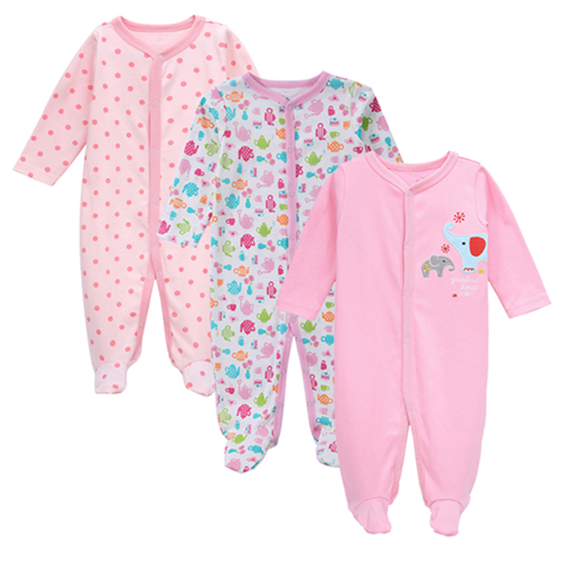 3pcs/set Baby Girls Footies Newborn Clothes long Sleeved 100%cotton cartoon Infant Clothing 0-12months AGLDI newborn baby girl clothes footies lucky child cotton cartoon printing infant clothing 1pcs 0 12 months