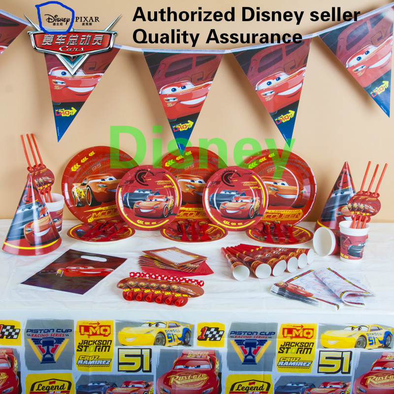 Authorized Disney Cars McQueen Kids Birthday Party Decoration Set Plex Supplies Cup Plate Banner Hat Straw Bag Fork