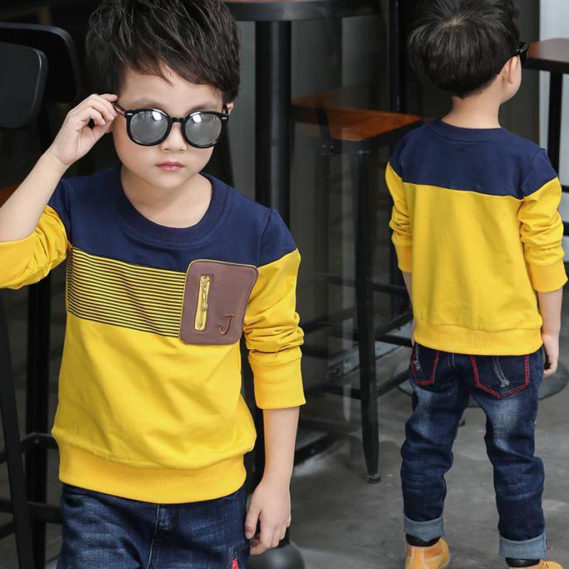 2018 frühling Langarm Kinder Kleidung Jungen T Shirt Gestreiften T-shirt Jungen Kostüm Kinder Tops T Shirt Garcon Roupas Infantis menino