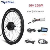 36V 250W e bike Motor Wheel 16 20 24 Rear Brushless Electric Hub Motor With Tire KT BLDC Controller LCD3 Display Throttle Kit