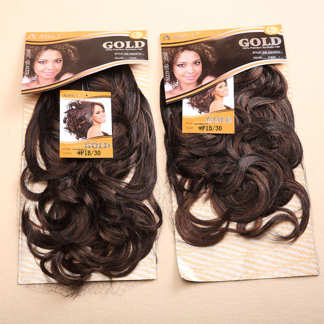 "1PC+Free Shipping Noble Gold AMARTA Premium Quality Synthetic Hair Extension 2pcs/set Curly Machine Hair Weaving 16"" #1 1B/30"