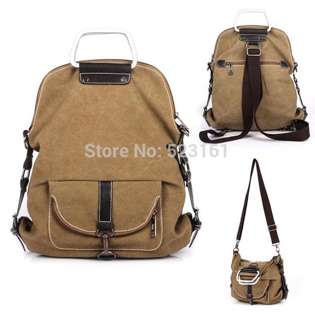 Unisex Weekender Canvas Hobo Backpack with Leather Trim Convert to  Crossbody Bag Hand Bag with Metal Handle for School Travel 638e1aea9f