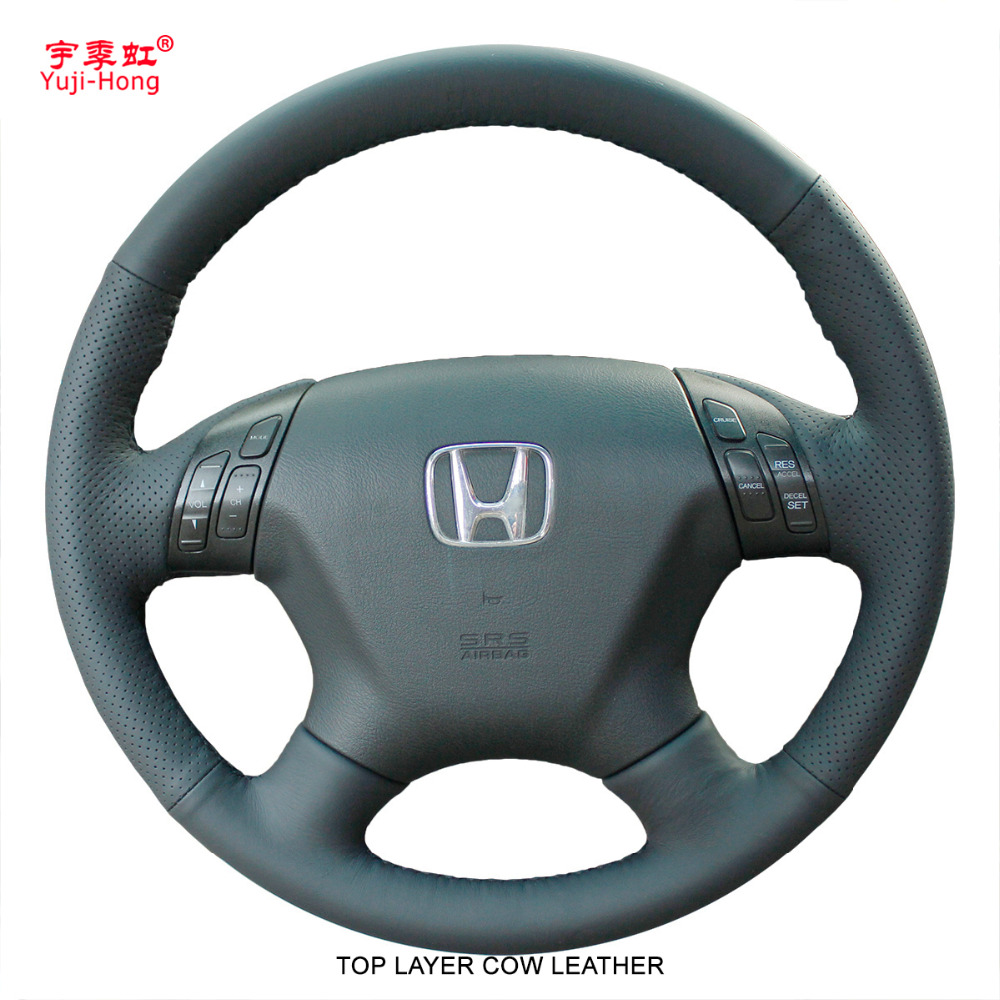 Yuji Hong Top Layer Genuine Cow Leather Car Steering Wheel Covers Case for HONDA Accord 7