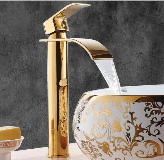 New Arrivals Gold Basin Faucets Waterfall Bathroom Faucet Single handle Basin Mixer Tap Bath Faucet Brass Sink Water Crane Tap euro luxury gold bathroom basin faucet single handle vanity sink mixer water tap brass and jade basin waterfall faucet