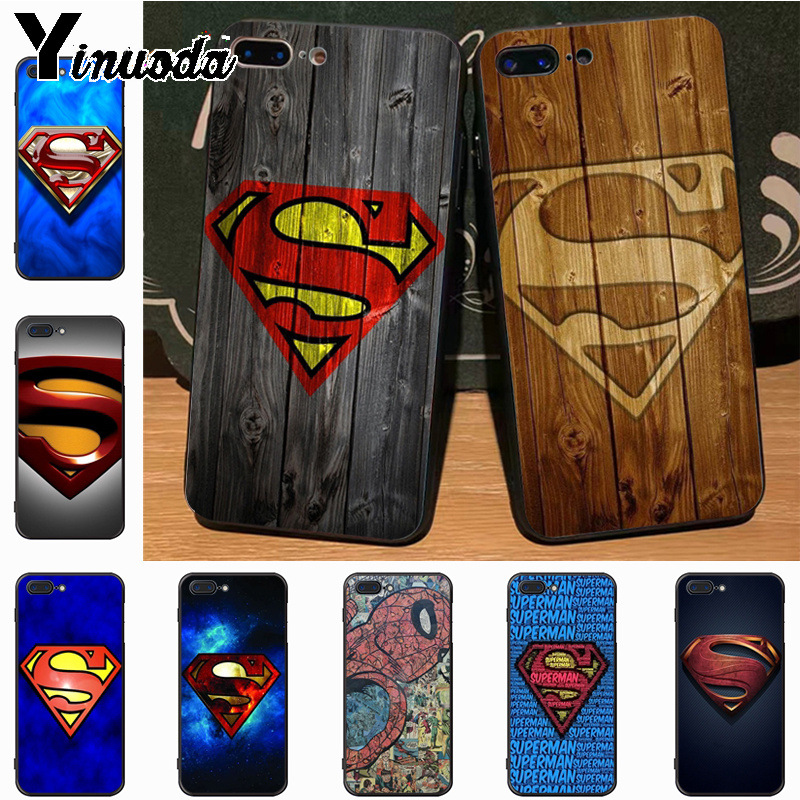 Yinuoda Superman S Logo Marvel Avengers on Wood Top Detailed Phone case for iPhone 7plus X XS XR XS MAX 6 6S 7 8 8Plus 5 5S case чехлы марвел