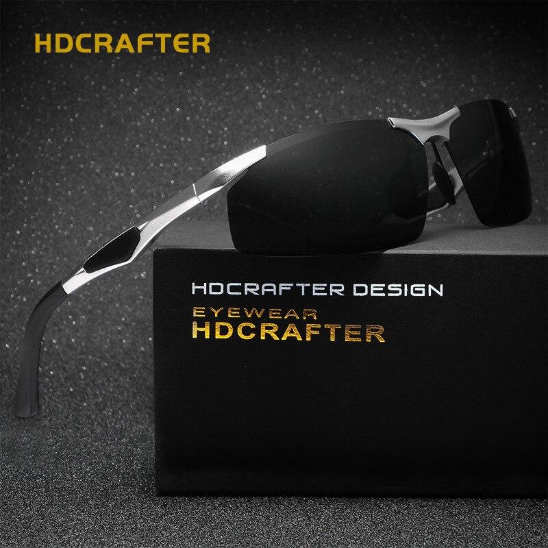 HDCRAFTER Mens Sport lunettes de Soleil Polarisées Hommes Soleil En Plein Air Lunettes De Pêche Rétro Mâle Conduite Vintage Eyewears Accessoires Oculos