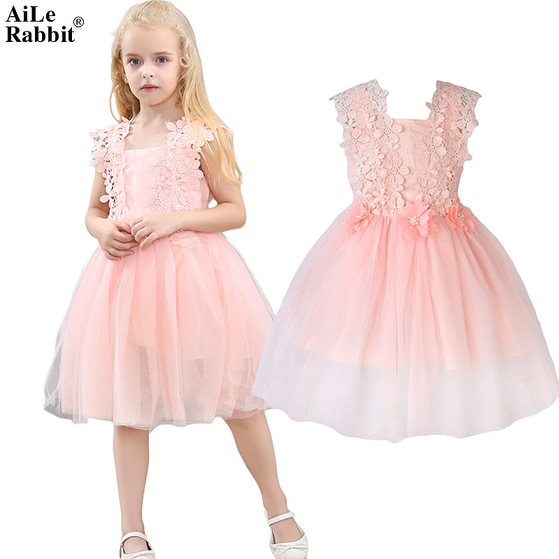 AiLe Rabbit 2017 Girls Lace Dresses Flower Gauze Princess Ponce Wedding Dress Party Dress Fashion Children's Clothing Apparel