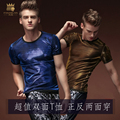 Free Shipping Summer men's male fashion casual short sleeved 2016 Two-sided slim Korean brand men T-shirt T shirts 15596 On Sale