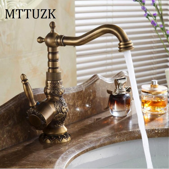 MTTUZK Deck Mounted Single Handle Bathroom Faucet Basin Carved ...