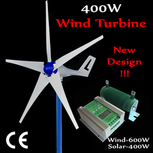 5 Blade wind turbine generator 400W enough power output Max 600w  12V 24V 600W Wind Generator +400W solar Controller