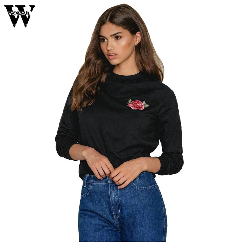 WOMAIL Good Deal 2017 Winter Warm Hoodie Sweatshirt Pullover Women Round Neck Rose Embroidered Long Sleeve Solid Tops Gifts#A30