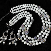 Noble jewelry white shell simulated-pearl square oval crystal beads 3rows necklace earrings set 18-22″ B1007