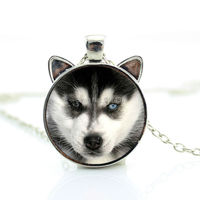 CN-00779 2017 New Husky Puppy Necklace Siberian Husky Pendant Little Husky Jewelry Glass Dome Necklace HZ2