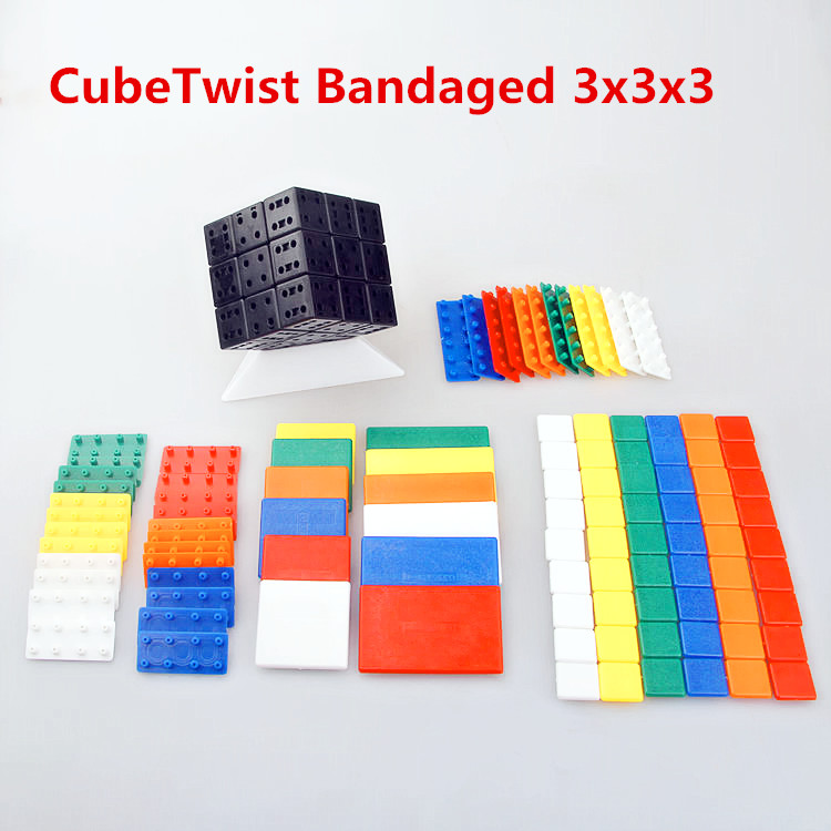 Cuberspeed 3x3x3 DIY CubeTwist Bandaged Cube Black  With Plastic Color Stickers Brain Teaser Puzzle Cube For Magic Cube