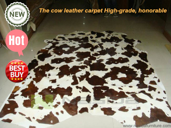 cl104 nasida printing brown horse cow leather carpet pattern cow skin carpet in living room area
