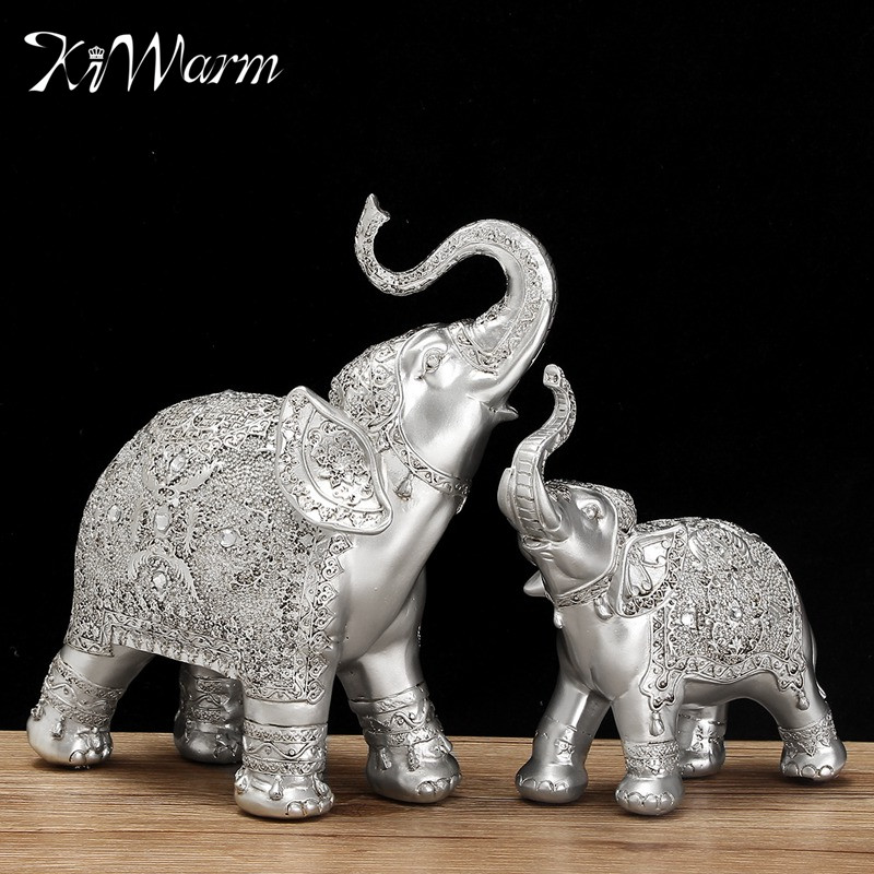 Fashion 2Pcs Set Silver Polyresin Ornate Elephant Statue Lucky Figurine Sculptures Ornaments For Home Office Decor Crafts Gift In Statues From