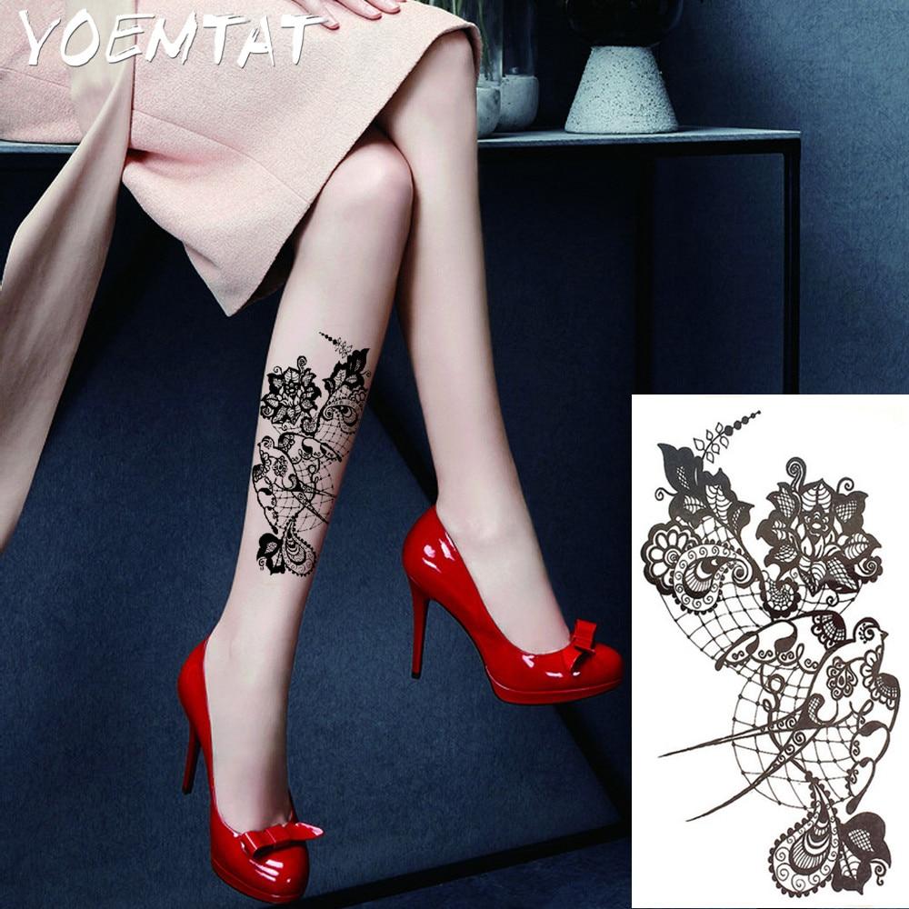 Bh1704 1 Piece Black Henna Cuff Tattoo With Flower Wrist: 1PC Sexy Lace Hot Black White Large Flower Henna Temporary