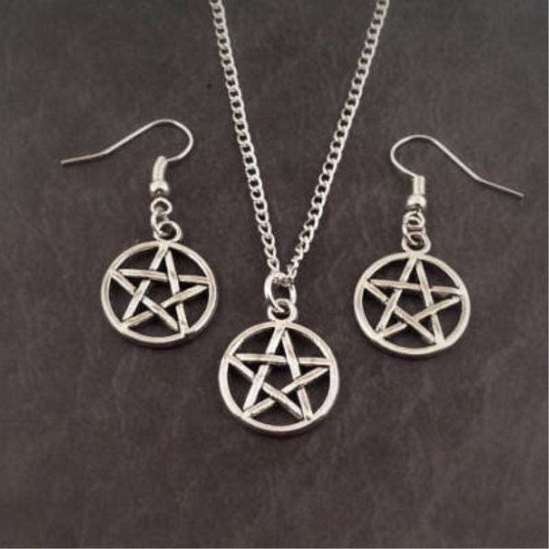 Pentacle Jewelry Set, pentacle necklace earrings,pentagram jewellery charm gift