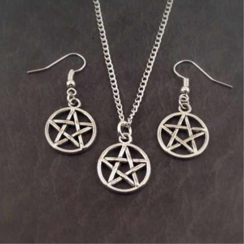 Zestaw biżuterii pentagram, kolczyki pentagram naszyjnik, biżuteria pentagram urok prezent