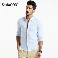2016 New Arrival SIMWOOD Brand Men Clothing Shirt Three Quarter Solid Casual Slim Fit Shirts Plus