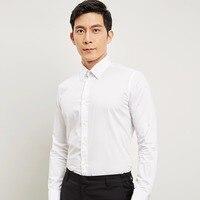 Tops Chất Lượng 2018 New Arrivals 100% Cotton của Thời Trang Stylish Men Dress Shirt Solid Phù Hợp Thường Xuyên Giản Dị Sơ Mi Nam Kinh Doanh F01