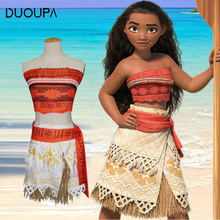 DUOUPA 2019 Princess Moana Cosplay Costume for Children Vaiana dress Costume with Necklace for Halloween Costumes for Kids Girls baby girls clothes moana dress cosplay costume for children vaiana dress costume for halloween costumes for kids girls 63311