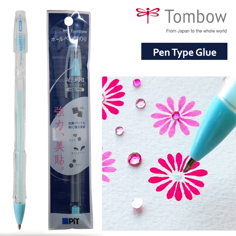 Tombow MONO Glue Pen 1.0mm Liquid Glue Stick Aquapit Strong Adhesive For Details Fine Precise Work Gluing On Paper Glitter 0.9ml