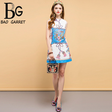 Baogarret New Summer Fashion Designer Dress Womens Beading Floral Printed Elegant Vintage Ladies Vacation Mini Dresses