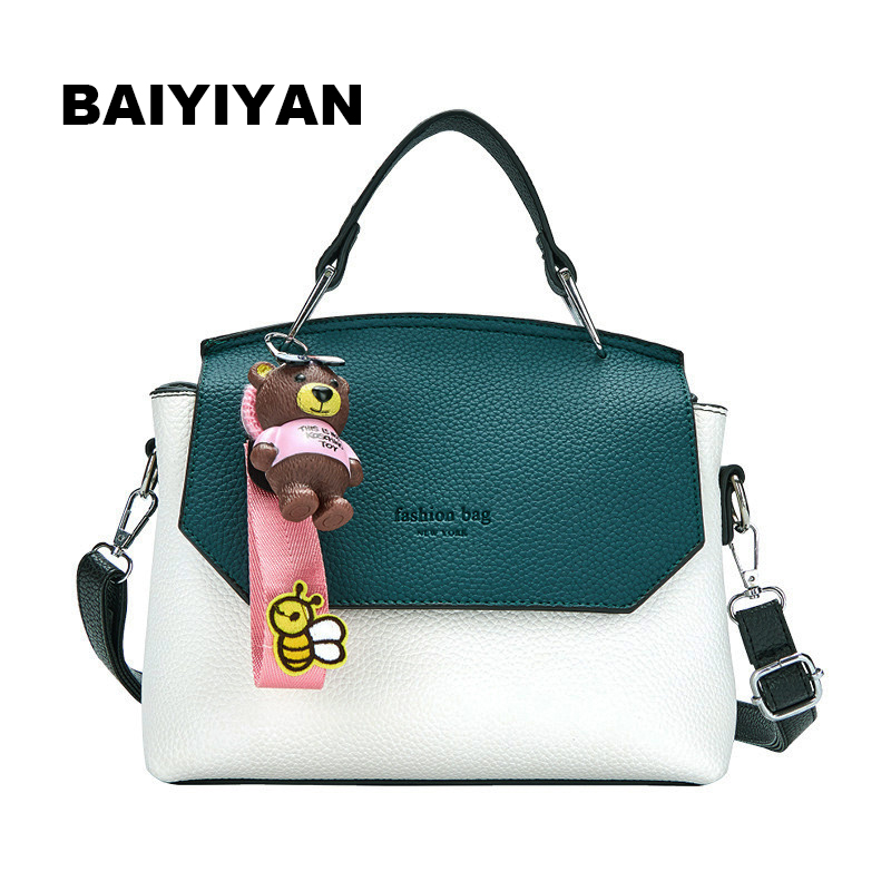 New Fashion High Quality Women Shoulder Bag casual Messenger Bag hit color PU Leather Vintage Ladies Tote Bag