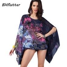 BHflutter 4XL 6XL Plus Size Women Clothing 2017 Boho Style Batwing Summer Chiffon Dress Women's Casual Beach Dresses Vestidos