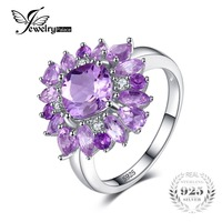JewelryPalace Luxury 2 47ct Natural Purple Amethyst Engagement Rings For Women Genuine 925 Sterling Silver Party
