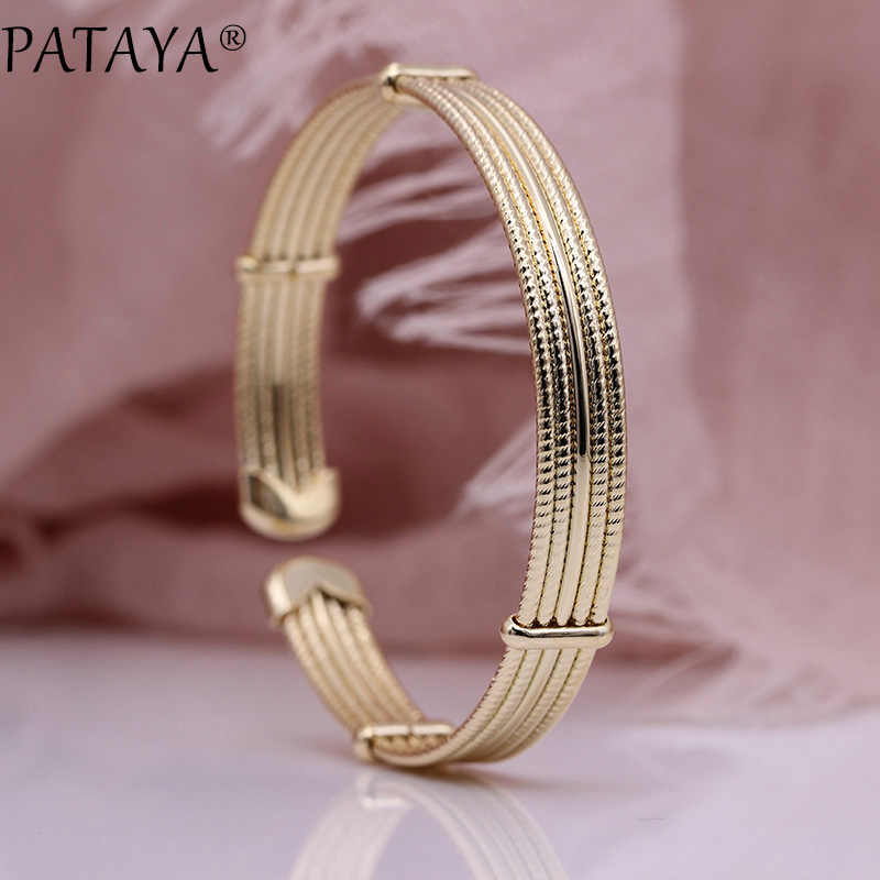 PATAYA New Glossy Spiral Women Opening Bangles 585 Rose Gold Five Laps Simple Small Girl Bangle Party Gift Fine Fashion Jewelry