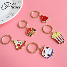 Phesee New 5 Style Cartoon Keychains Watermelon Pizza Chips Hamburger Alloy Keyrings Bag Pendant Key chains For Women and Men