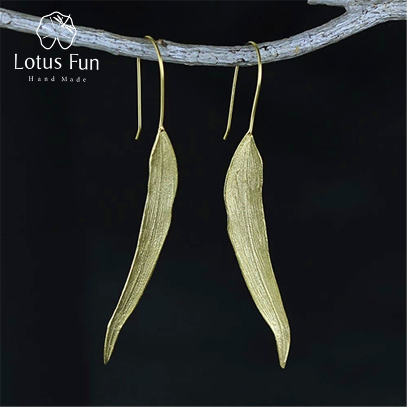 Lotus Fun Real 925 Sterling Silver Natural Original Handmade Fine Jewelry Vintage Long Leaves Drop Earrings for Women Brincos