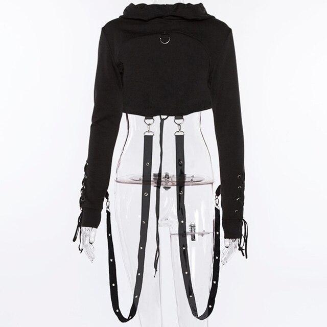 01ead6551cf Black Short Hoodies Womens Cross Bandage Metal Hooded Pullover Sweatshirts  Pastel Gothic Fashion Goth Beauty Tops