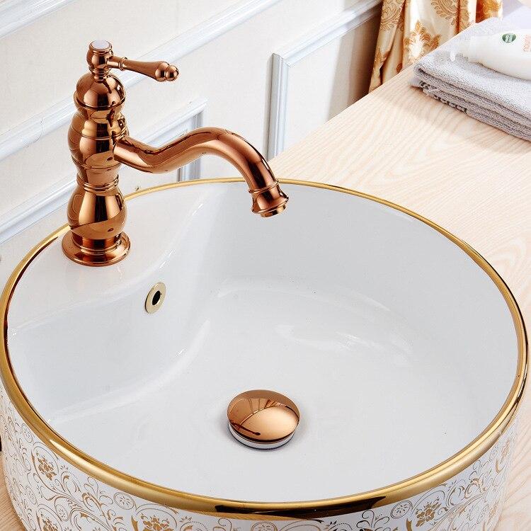 Antique laiton navire évier Drains salle de bain bassin Pop up Drain solide en laiton galvanoplastie or Rose gravité rinçage RF45768687 - 4