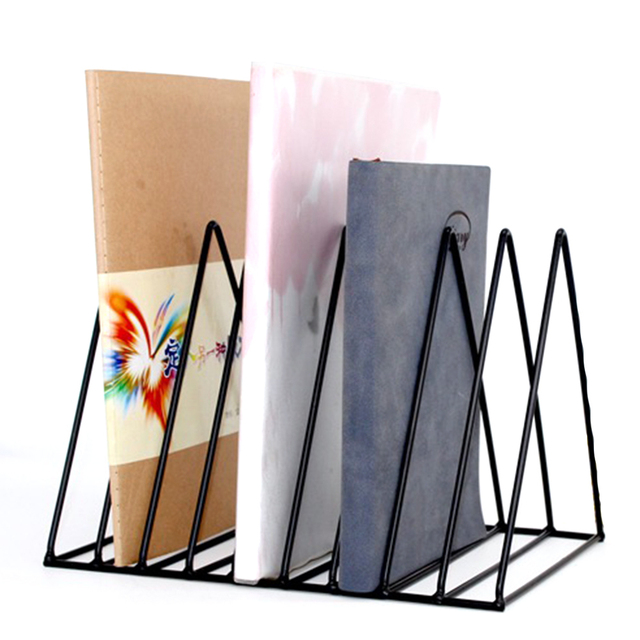 Solid 9 Grid File Storage Book Shelf Bookbends Desktop Nordic Wrought Iron File Holder Office Desk Storage Book Stand Organizer