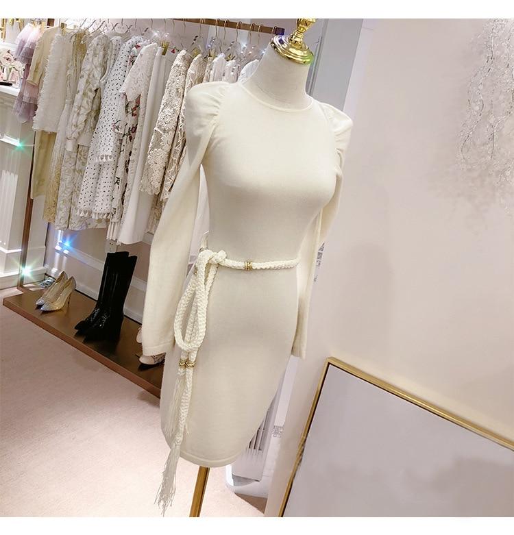 KENVY marque de mode femmes haut de gamme luxe Slim gland taille Sexy mince robe en cachemire