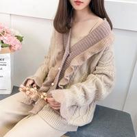 2019 new women cardigans knitted loose ruffles elegant solid lady sweaters outwear jacket coat tops