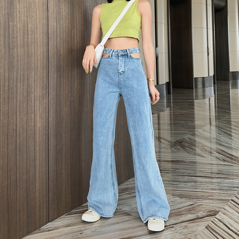 Vintage Long High Waist Flare Jeans For Women Casual Wide Leg Denim Pants Bottoms Hollow Out Loose Boyfriend Jeans Bell Bottom(China)