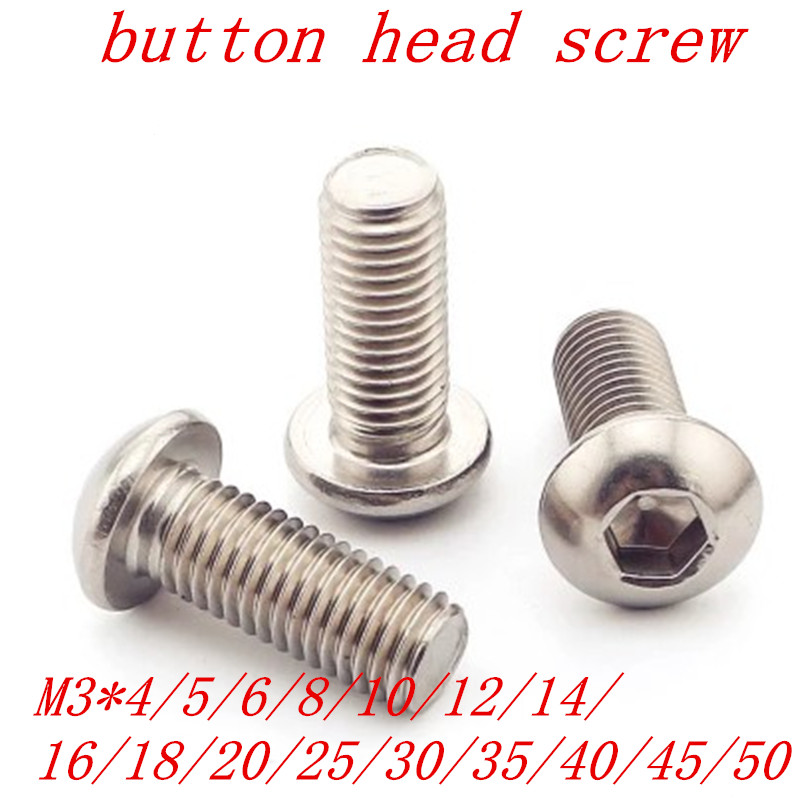 50pcs M3 Bolt A2-70 Button Head Socket Screw Bolt SUS304 Stainless Steel M3*(4/5/6/8/10/12/14/16/18/20/22/25/30/35/40/45/50) mm image