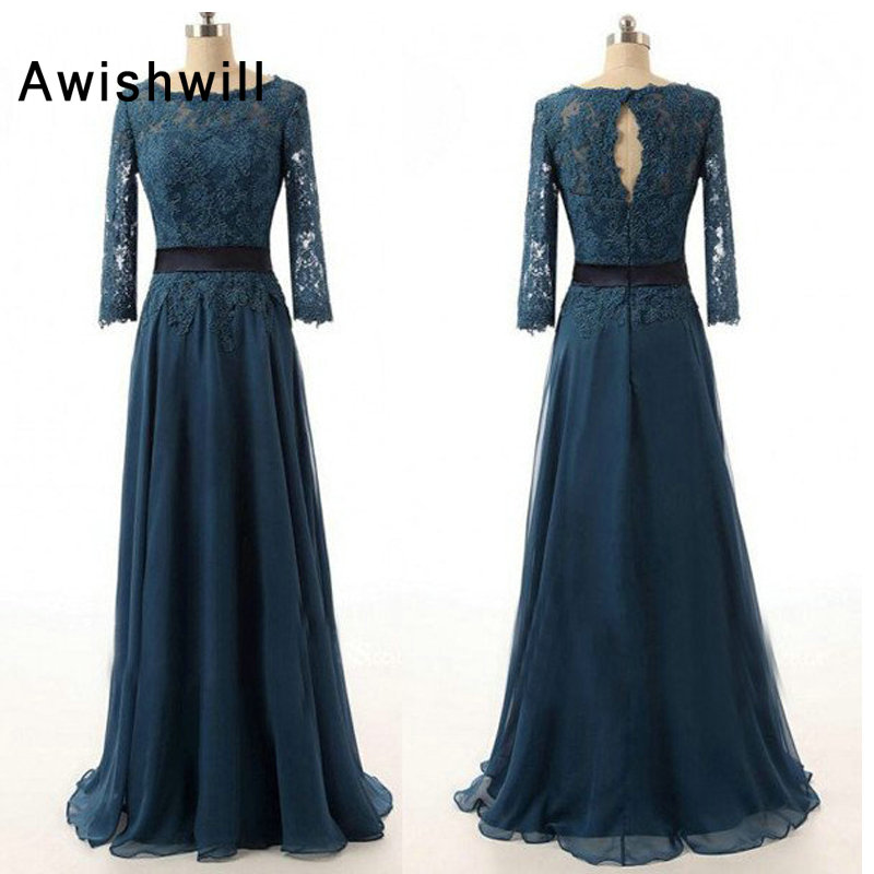Teal Color Formal Evening Dress for Weddings Lace Chiffon Floor Length Long Sleeve Elegant Mother of The Bride Dress(China)