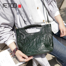 AETOO Handmade old one-shoulder oblique back handbag, Lady fold cowhide crossbody bag, female small child mother tot Package