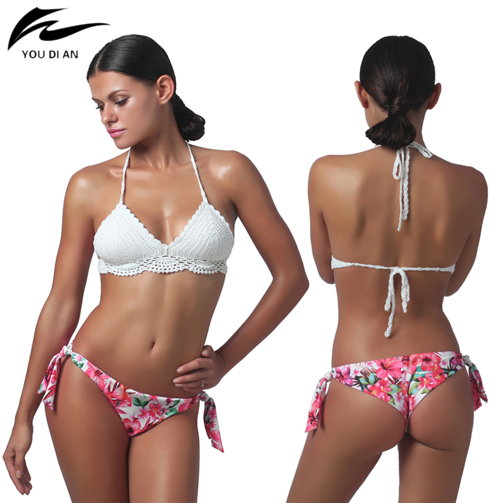 Swimwear Women Bandage Bikini Set Sexy Summer Beach Lady Handmade Floral Printed Swimwear Swimsuit Bathing Suit
