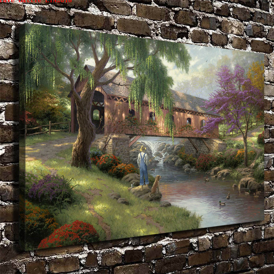 Thomas kinkade the old fishin hole canvas painting print - Home interiors thomas kinkade prints ...