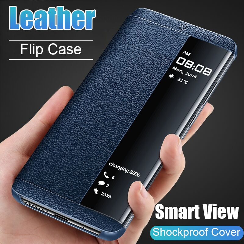 Window View Flip Phone Case For Samsung Galaxy S7 Edge S7 S8 S9 S10 Plus Luxury PU Leather Phone Cover for Note 8 Note 9 A6 A7 A9 J6 2018 j6 plus Coque image