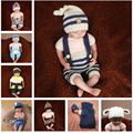 2016 New Arrival Crochet Bebê Recém-nascido Fotografia Props Chapéu Do Bebê Calças Conjunto Roupa Traje Foto Props SG055