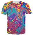 Летний стиль tshirt разливов нефти футболка психоделический водоворот яркие цвета 3d печать футболка женщины мужчины тройник Harajuku топы Большой размер